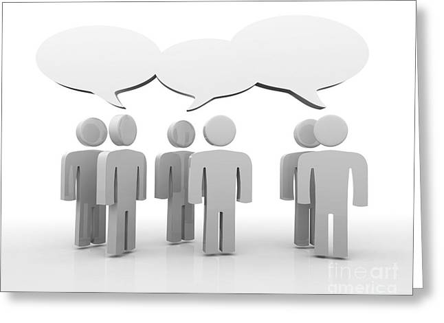 Talking Digital Greeting Cards - Discussion blank speech bubbles Greeting Card by Michal Bednarek