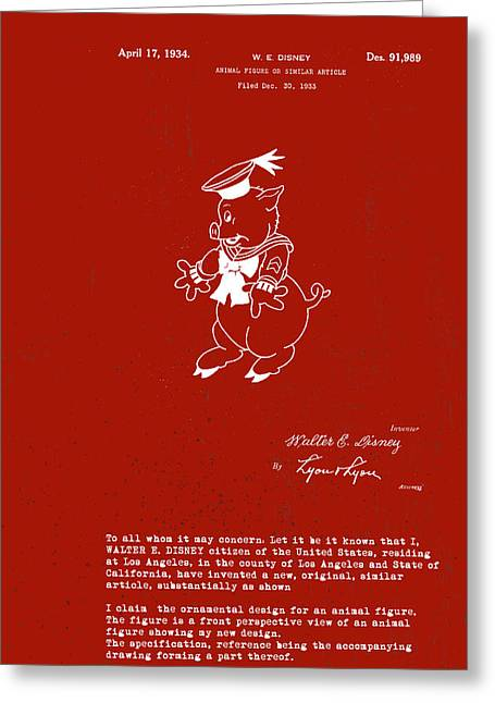 Practical Greeting Cards - Disney Pig Patent Greeting Card by Marlene Watson