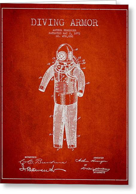 Divers Greeting Cards - Diving Armor Patent Drawing from 1893 Greeting Card by Aged Pixel