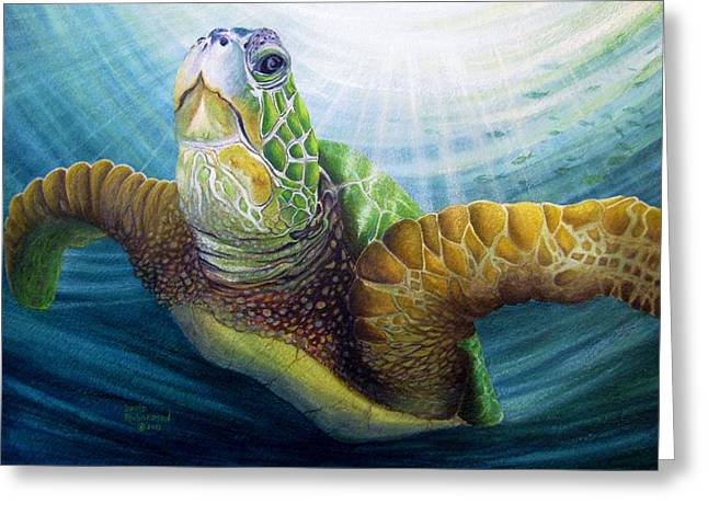 Ocean Turtle Paintings Greeting Cards - Diving the Depths Greeting Card by David Richardson