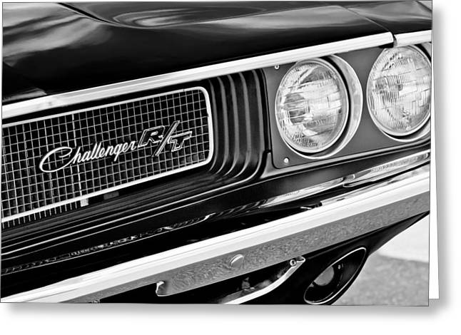 Challenger Greeting Cards - Dodge Challenger RT Grille Emblem Greeting Card by Jill Reger