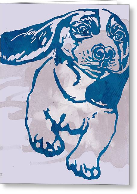 Dog Portrait Mixed Media Greeting Cards - Dog stylised pop modern etching art portrait Greeting Card by Kim Wang