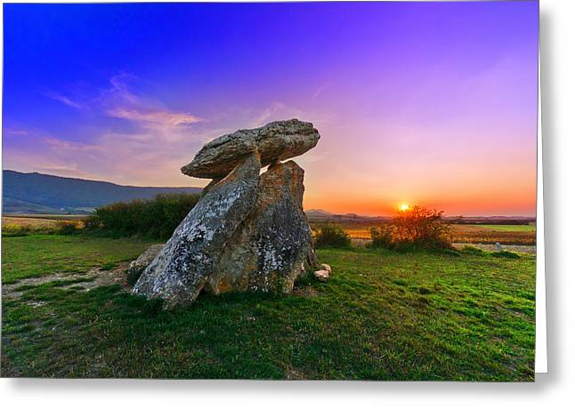 Ancient Tomb Greeting Cards - Dolmen of Sorginetxe Greeting Card by Mikel Martinez de Osaba