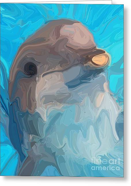Ocean Mammals Digital Art Greeting Cards - Dolphin Greeting Card by Chris Butler