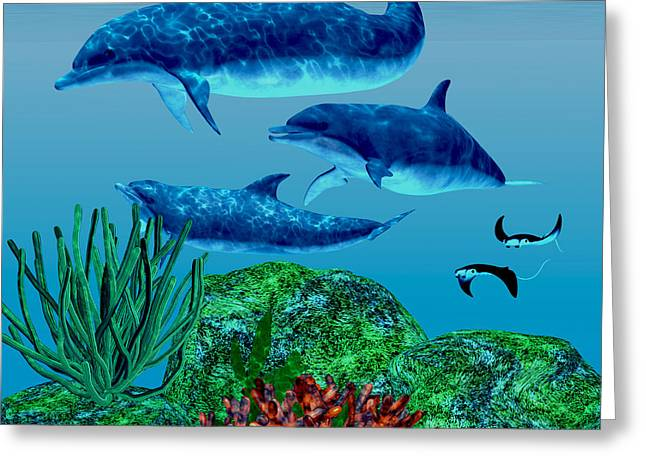 Ocean Images Digital Art Greeting Cards - Dolphins Greeting Card by Corey Ford