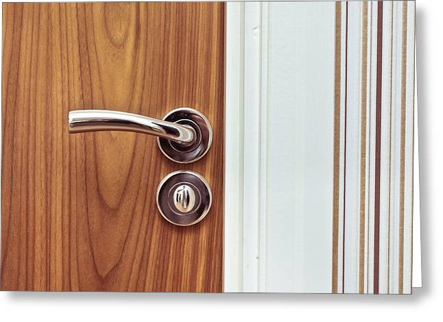 Chrome Handles Greeting Cards - Door handle Greeting Card by Tom Gowanlock