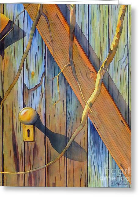 Barn Door Paintings Greeting Cards - Door In Skull Valley Greeting Card by Robert Hooper