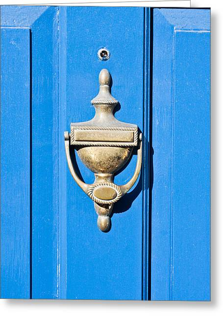 French Door Greeting Cards - Door knocker Greeting Card by Tom Gowanlock
