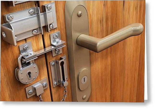Door With Various Locks Greeting Card by Ktsdesign