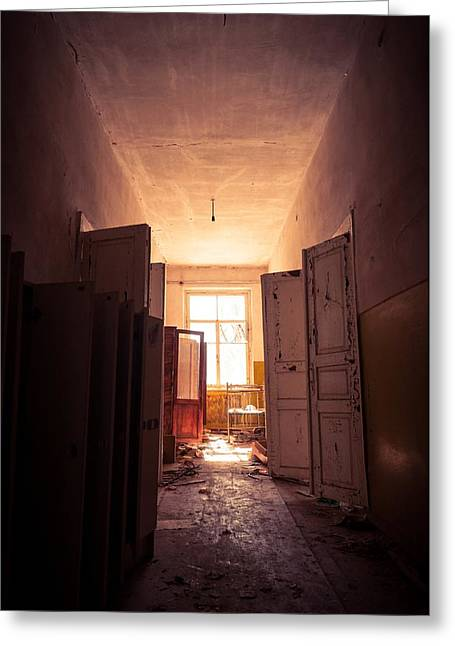 Forgotten Pyrography Greeting Cards - Doorway with bright light in an abandoned building Greeting Card by Oliver Sved