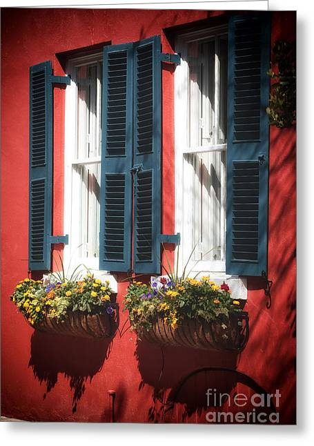 Old School House Greeting Cards - Double Windows Greeting Card by John Rizzuto