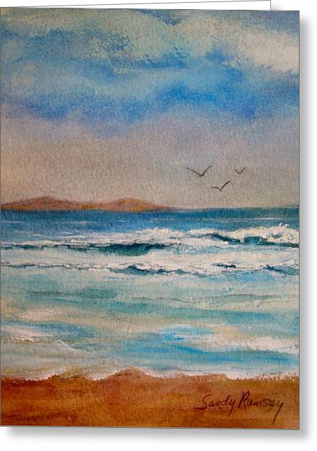 Foggy Beach Greeting Cards - Down By The Sea Greeting Card by Sandra Ramsey