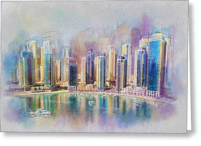 Downtown Greeting Cards - Downtown Dubai Skyline Greeting Card by Corporate Art Task Force