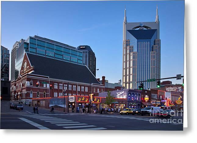 Downtown Nashville Greeting Card by Brian Jannsen