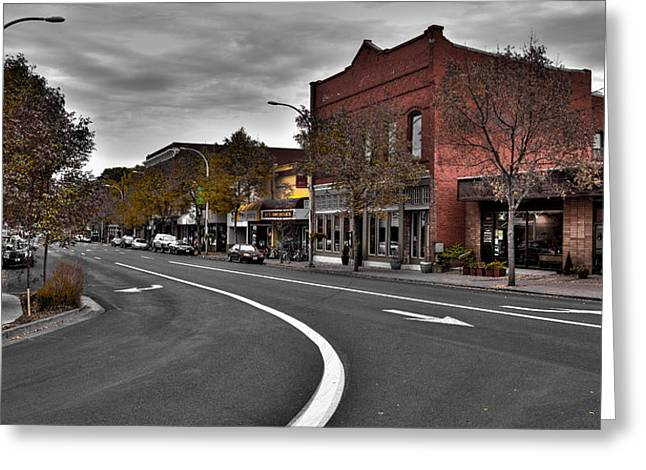 Main Street Greeting Cards - Downtown Pullman Washington Greeting Card by David Patterson
