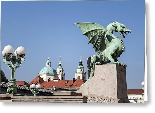 Medieval Temple Greeting Cards - Dragon Bridge. Ljubljana. Greeting Card by Fernando Barozza