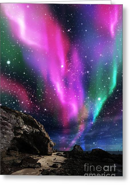 Aesthetic Greeting Cards - Dramatic Aurora Greeting Card by Atiketta Sangasaeng