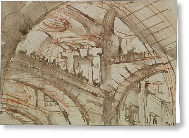 Structure Drawings Greeting Cards - Drawing of an Imaginary Prison Greeting Card by Giovanni Battista Piranesi