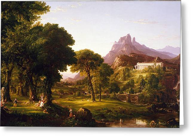 Thomas Cole Greeting Cards - Dream of Arcadia Greeting Card by Celestial Images