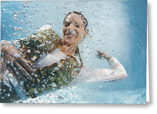 Air Bubbles Greeting Cards - Dressed Woman Underwater  Greeting Card by Hagai Nativ