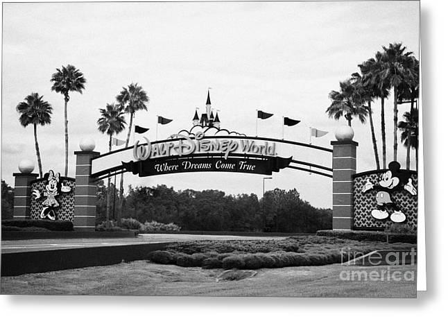 Driving Greeting Cards - Driving Entrance To Walt Disney World Orlando Florida Usa Greeting Card by Joe Fox