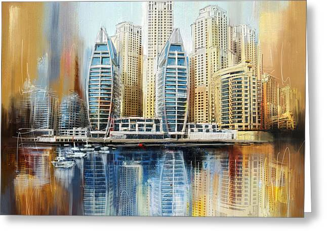 Corporate Greeting Cards - Dubai Skyline Greeting Card by Corporate Art Task Force