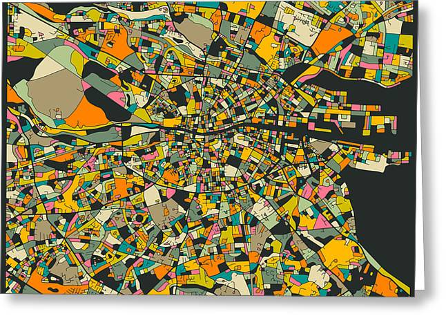 Dublin Greeting Cards - Dublin Map Greeting Card by Jazzberry Blue