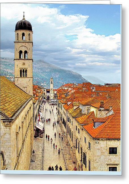 Red Tile Roof Greeting Cards - Dubrovnik Greeting Card by Douglas J Fisher