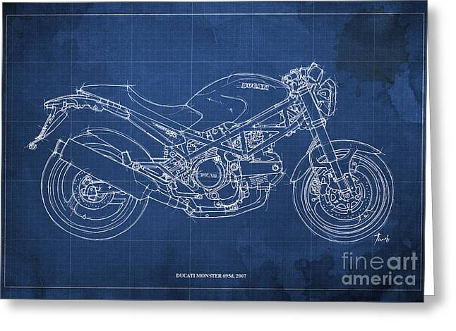 Blue Drawings Greeting Cards - Ducati Monster 695d 2007 Greeting Card by Pablo Franchi
