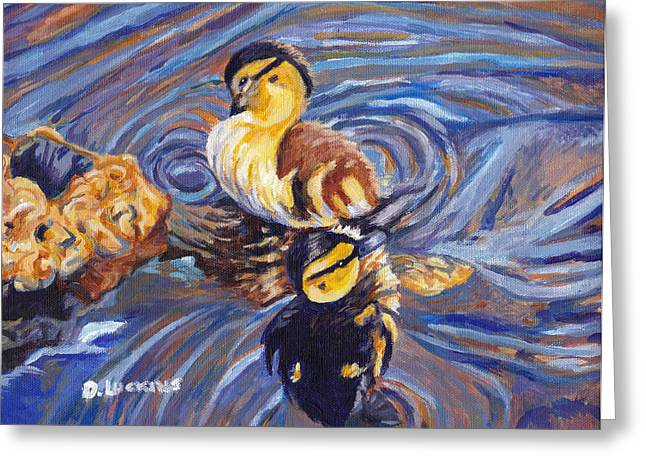 Baby Mallards Paintings Greeting Cards - 2 Duckling Souls Greeting Card by Darlene Luckins