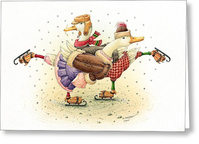 White Drawings Greeting Cards - Ducks Christmas Greeting Card by Kestutis Kasparavicius