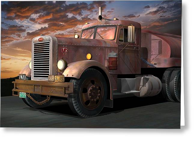 1955 Movies Greeting Cards - Duel Truck Greeting Card by Stuart Swartz