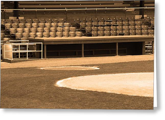 Negro Leagues Greeting Cards - Dugout at the Old Ballpark Greeting Card by Frank Romeo