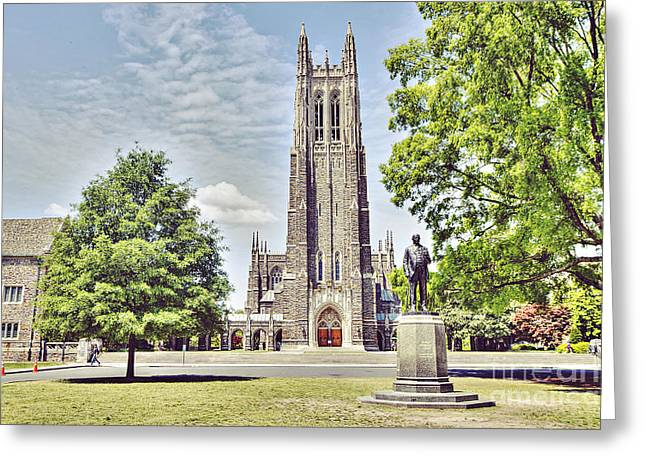 Duke Chapel In Spring Greeting Card by Emily Kay