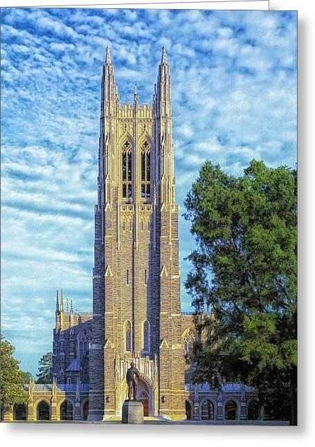 Duke Greeting Cards - Duke Universitys Chapel Tower Greeting Card by Mountain Dreams