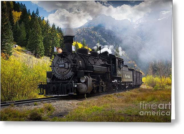 Durango Greeting Cards - Durango-Silverton Narrow Gauge Railroad Greeting Card by Inge Johnsson