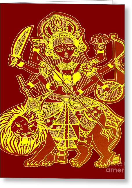 Goddess Durga Greeting Cards - Durga Maa Greeting Card by Sketchii Studio