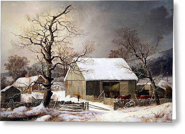 Cora Wandel Greeting Cards - Durries Winter In The Country Greeting Card by Cora Wandel
