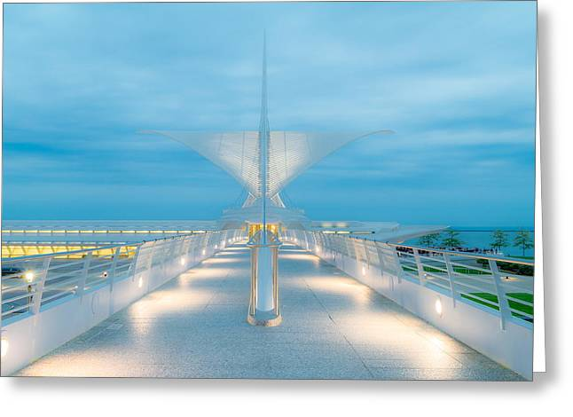 Contemporary Night Scape Greeting Cards - Dusk at the Burke Brise Soleil Greeting Card by Chuck De La Rosa