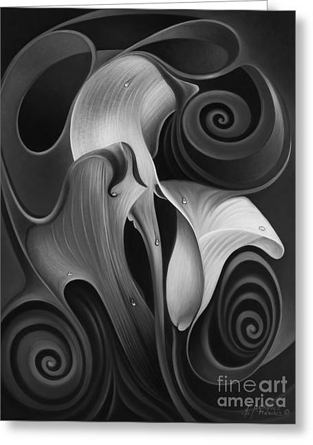 Flor Greeting Cards - Dynamic Floral 4 Cala Lilies Greeting Card by Ricardo Chavez-Mendez