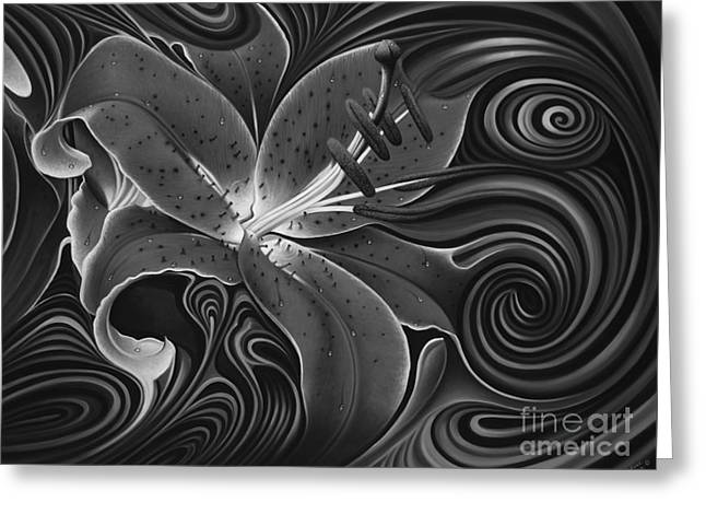 Flor Greeting Cards - Dynamic Red Greeting Card by Ricardo Chavez-Mendez