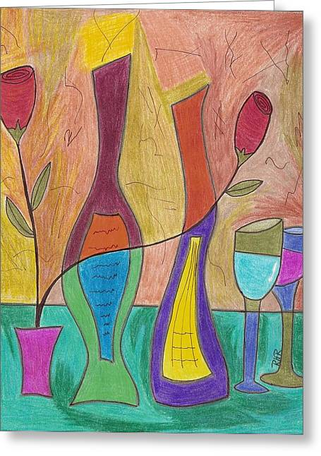 Wine-glass Drawings Greeting Cards - 2 Each Greeting Card by Ray Ratzlaff