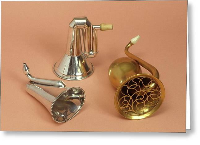 Ear Trumpets Greeting Card by Science Photo Library