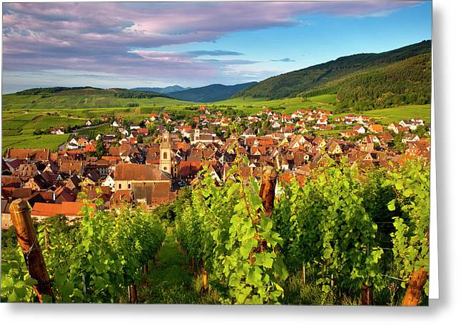 Early Morning Overlooking Village Greeting Card by Brian Jannsen