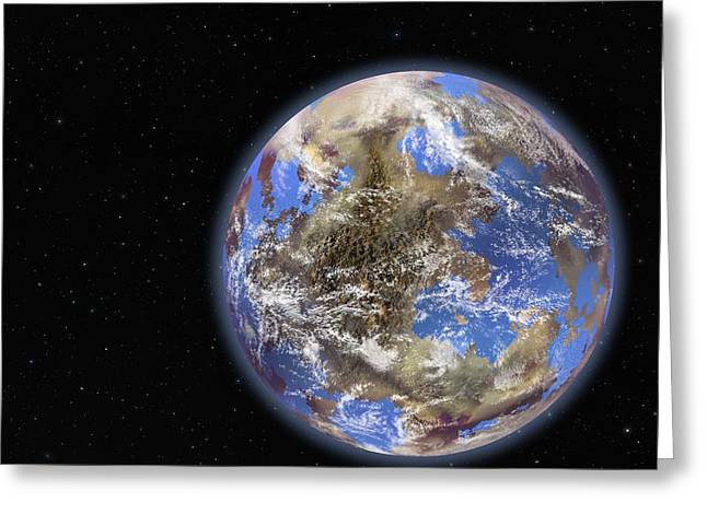 Terrestrial Sphere Greeting Cards - Earth-like extrasolar planet, artwork Greeting Card by Science Photo Library