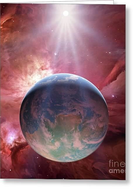 Earthlike Greeting Cards - Earthlike Planet In Orion Nebula Greeting Card by Detlev van Ravenswaay