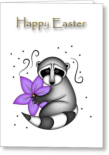 Wildlife Celebration Greeting Cards - Easter Raccoon Greeting Card by Jeanette K