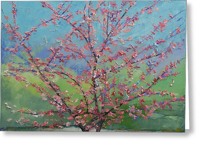 Eastern Redbud Tree Greeting Card by Michael Creese