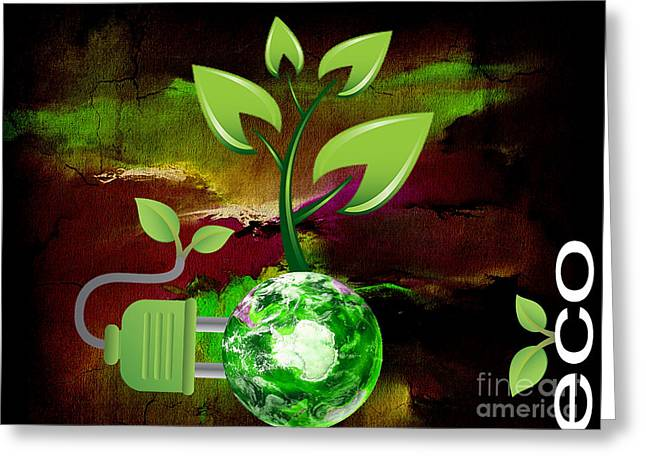 Energy Mixed Media Greeting Cards - Eco Awareness Greeting Card by Marvin Blaine