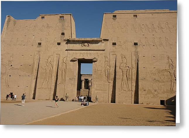 Horus Greeting Cards - Edfu Temple Greeting Card by Christian Zesewitz